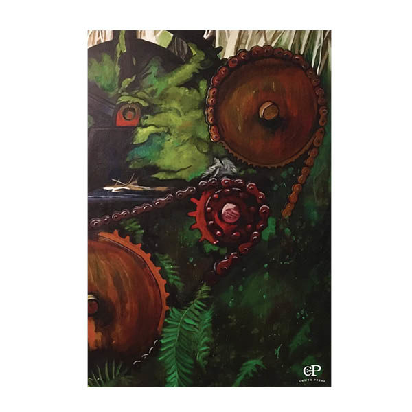 book cover that is a painting of rusting gears and foliage