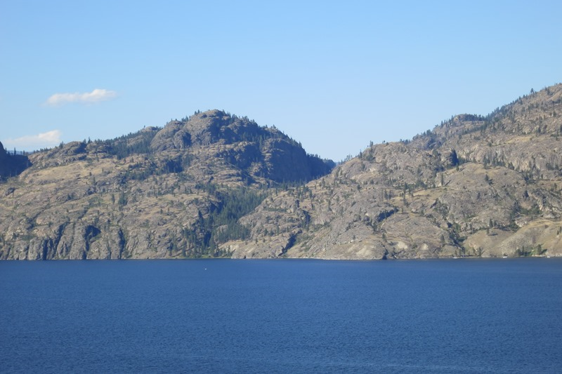 Lake Okanagan with mountains.