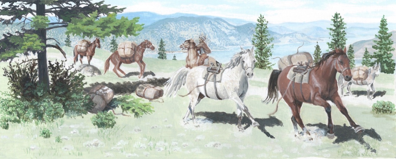 A painting of horses bolting near a lake.