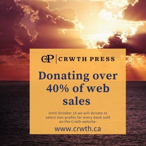 Advertisement: Crwth Press is donating over 40% of web sales to non-profits..