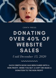 """ad that reads """"Donating of 40% of website sales. We have paired each Crwth book with a non-profit. When you buy a book we'll make a donation to that non-profit. Ad features a photo of a surprised-looking baby."""